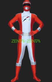 White Ranger Halloween Costume Power Ranger Operation Overdrive Red White Lycra Zentai Suit