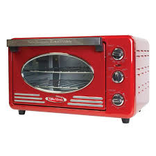 Toast In Toaster Oven Nostalgia Retro Series Toaster Oven In Red Rtov220retrored The