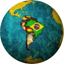 Map Of South American Countries South American Flags On Globe Map U2014 Stock Photo Michal812 13825218