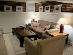 Basement Living Room Astonishing Basement Home Theater Interior With Brown Leather Seat