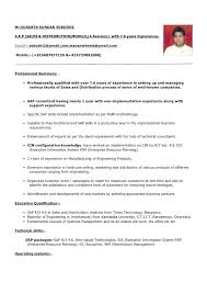 Sample Resume For Sap Abap 1 Year Of Experience by Sap Wm Resume Sample Sap Logistics Execution Consultant Cv Sap Sd