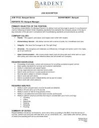 Sample Resume For Bartender by Banquet Server Job Description Example Word Template Free Download