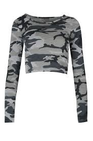 Womens Military Vest Womens Ladies Long Tartan Camouflage Animal Print Long Sleeve Crop