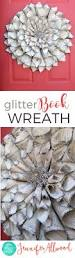 make a vintage book wreath with glitter book wreath vintage