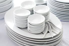 set of white dishes spoon and bowl stock photo picture and
