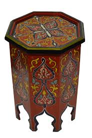 moroccan tea table stand wood painted table red moroccan furniture