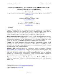 employer u0027s information requirements eir a bim case study to