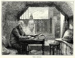 victor hugo in his study hauteville house guernsey stock vector