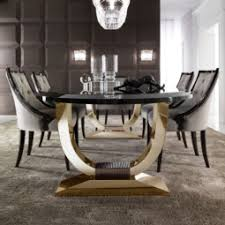 Luxury Dining Table And Chairs Italian Black Lacquered Gold Oval Dining Table Juliettes Interiors