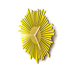 the sun stylish yellow golden wooden wall clock a piece of