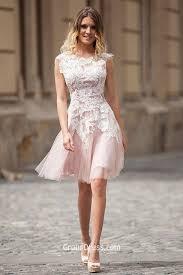 ivory lace over pink tulle boat neck elegant short prom dress cap