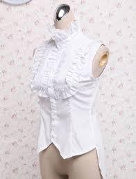 white sleeveless blouse white sleeveless stand collar ruffles cotton blouse cheap