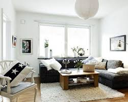 charming small living room design with corner black leather sofa