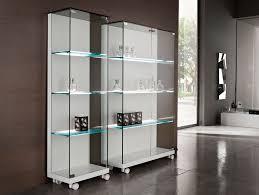 Glass Bookcases Nella Vetrina Tonelli Medora White Modern Italian Glass Bookcase