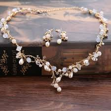 pearl rhinestone necklace images Girls gold pearl rhinestone hair tiara necklace earrings set jpg