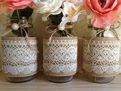 Mason Jar Vases Wedding 10x Natural Color Lace And Burlap Covered Mason Jar Vases Wedding