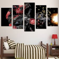 home decor flash sale hd printed deadpool mask gun automatic painting 5 piece canvas art