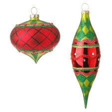 Glass Christmas Ornament Sets - raz plaid and gold christmas ornaments shelley b home and holiday