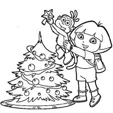 elf put star funny christmas tree coloring pages