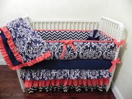 baby bedding crib set danielle navy damask chevron coral just