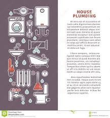 house plumbing vector poster or infographics template for bathroom