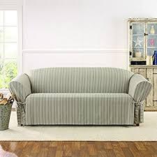 Green Sofa Slipcover by Amazon Com Sure Fit Grain Sack Stripe Sofa Slipcover Home U0026 Kitchen