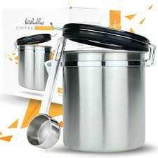 Stainless Steel Kitchen Canisters Stainless Steel Coffee Canister With Airfresh Valve Technology