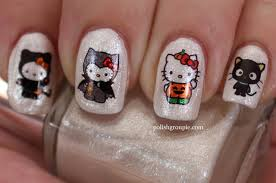 nail aween nail art challenge hello kitty halloween water decals