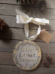 our first christmas ornament 3 gold wood circle tree
