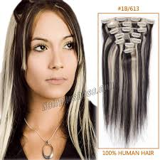 24 inch hair extensions inch 1b 613 clip in human hair extensions 8pcs