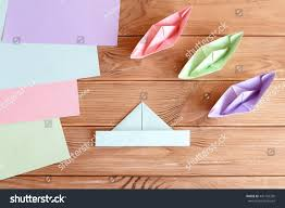 set origami boats square sheets colored stock photo 442193350
