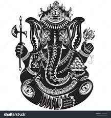 stock vector vector illustration of an indian god ganesha in black