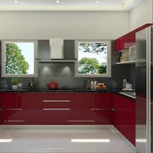 Sleek Modular Kitchen Designs by Glossy Kitchen Design Sleek Finish Red And Grey Combination
