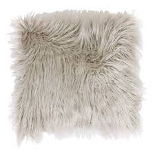 Oversized Faux Fur Throw Oatmeal Mongolian Faux Fur Pillow 26 In At Home At Home