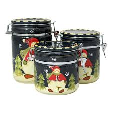 snowman delight hand painted 3 piece canister set snowman delight