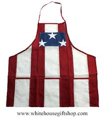 Embroidered American Flag Flag Patriotic Apron Made In Usa American Made Loose Weave 2 Ply