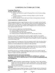 unit 4 limiting factor lecture notes labour economics demand