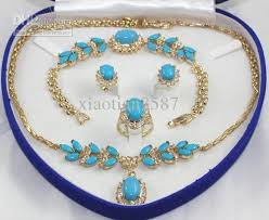 turquoise necklace sets images 2018 blue turquoise jewelry sets 18k gold plated chains necklace jpg