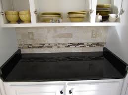 Black Granite Glass Tile Mixed Backsplash by Black Granite Tile