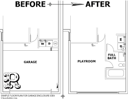 sample garage conversion with bathroom and washer dryer spaces