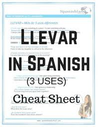 llevar in spanish pdf spanish teaching pdfs pinterest spanish