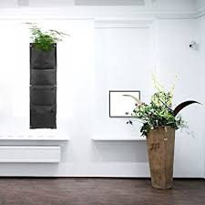 Indoor Wall Planter Vertical Wall Mounted Polyester Living Indoor Wall Planter Black