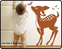baby deer wall decal baby fawn butterflys nursery wall zoom