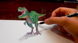 amazing anamorphic drawing 3d illusion 4 t rex youtube