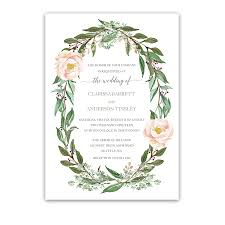flower wreath floral wedding invitations greenery blush flower wreath