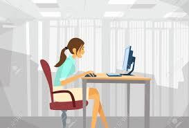 Business Computer Desk Business Sitting Desk Working Laptop Businesswoman Typing
