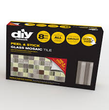 diy tile backsplash kit bamboo comes with l stick glass mosaic tiles 2 bags of pre mixed grout trim pieces to finish the edges and tools