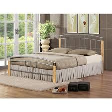 Beech Bed Frames Birlea Tetras Beech Wood Silver Metal Bed Frame