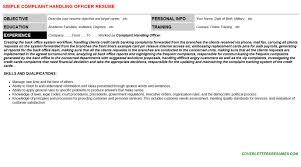 Resume Handling Complaint Handling Officer Cover Letter U0026 Resume