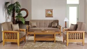 Beige Microfiber Living Room WWooden Frame Storage Sleeper Sofa - Microfiber living room sets